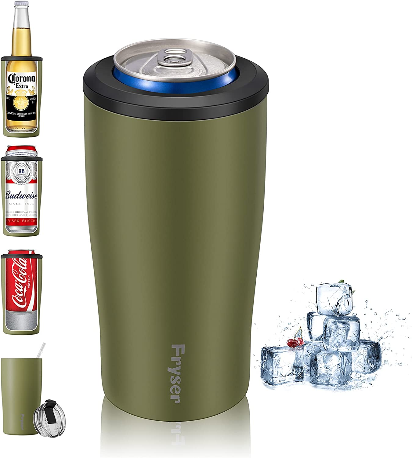 Fryser Can Cooler 12 Oz Can Insulator 4-in-1 Stainless Steel Vacuum Insulated Can Holder Cold Can Keeper for Beer Bottles,Soda,Seltzers Slim/Skinny Regular Can and As Tumbler Cup with Lid Straw(Green)