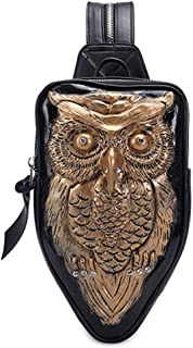 Fashion Silver/Black/Gold Personality Shoulder Bag Ladies Owl Fashion Handbag 3D Multi-Function Backpack 17 * 5 * 34 (cm) (Color : Gold)
