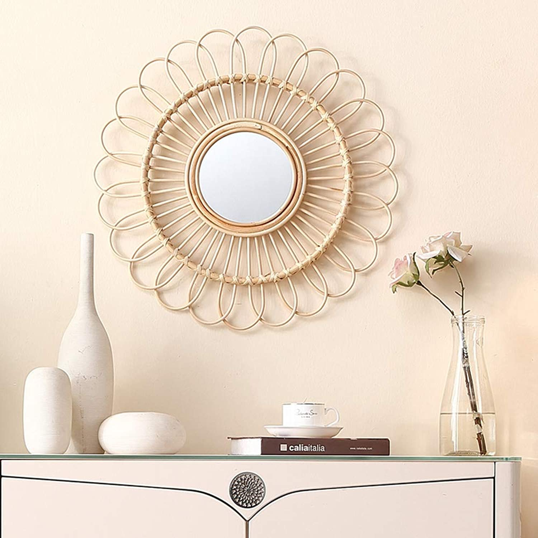 Rattan Art bathroom mirror, Round-Wall-Type Mirror Dressing Table Mirror Diameter 55cm 21.6in