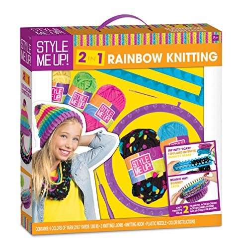 Style Me Up! 2 in 1 Rainbow Knitting Kit to create a Beanie Hat and Infinity Scarf
