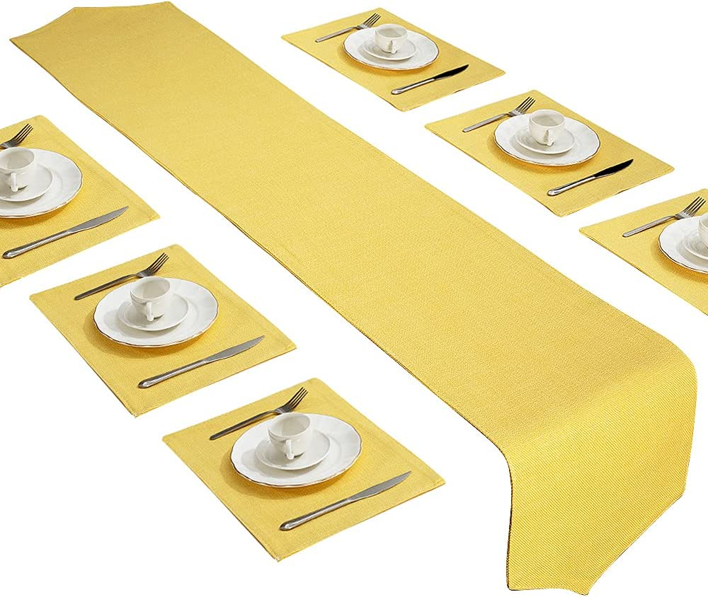 Dubulle Discount is also underway Yellow Table 70% OFF Outlet Runner and Placemats Set 6 Kitchen D for of
