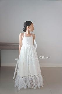3c292b609 Boho girls dress Lace flower girl dress Beach girl dress junior bridesmaid  dresses