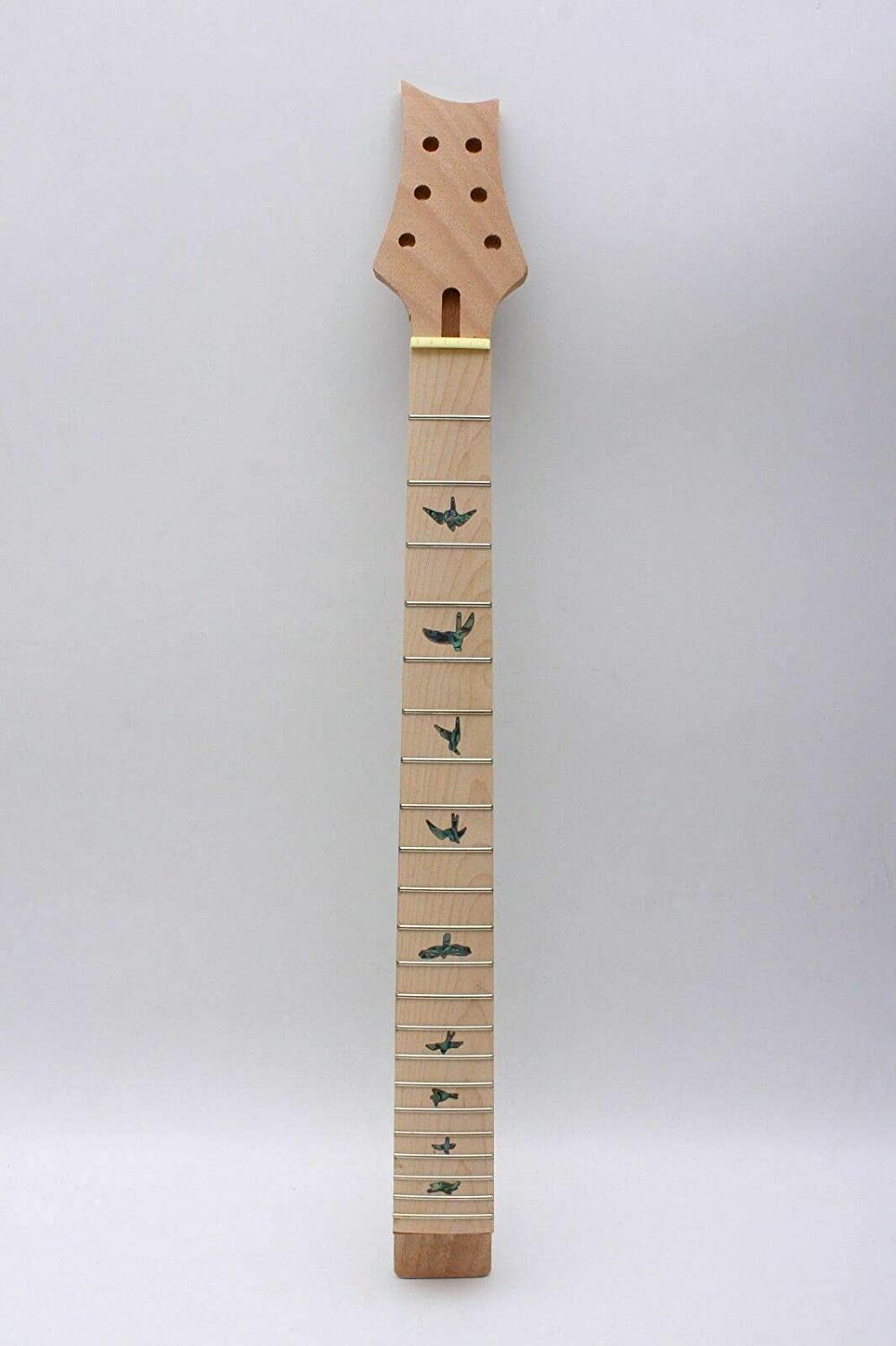 24.75inch Yinfente New Guitar Neck 22 fret Guitar Replacement Unfinished 24.75inch Maple Fretboard colorful Bird Inlay 24.75