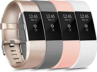 [4 Pack] Sport Bands Compatible with Fitbit Charge 2 Bands for Women Men, Soft Silicone Classic Adjustable Replacement Wri...