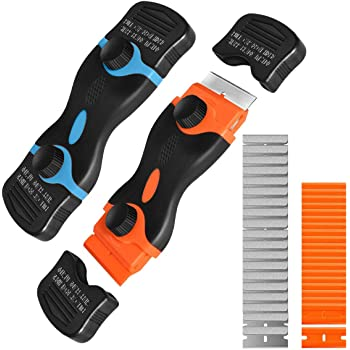 Multi-Purpose and Mini Razor Scraper, double-edged Razor Blade Remover Tool With 6 Pcs Razor Blades for Label Sticker Decal Removal Automatic Window Tinting Vinyl Application (Blue and Orange)