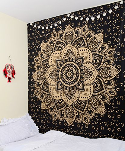 Craftura Original Or Noir Passion à suspendre au mur – Ombre Mandala Tapisserie indien – Décoration murale – Décoration murale de bohème – 100% coton – 213,4 x 228,6 cm