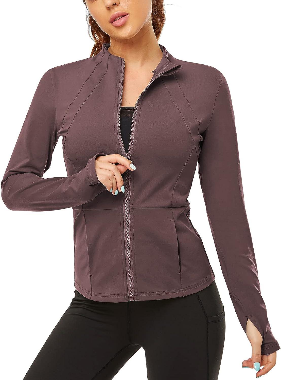 Gleeter Workout Boston Mall Kansas City Mall Jacket for Women Full Athle Zip Long Yoga Sleeve