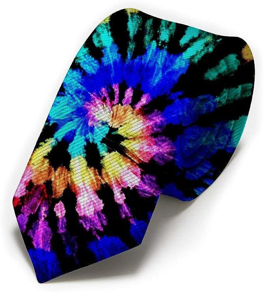 Colorful Tie Dye Black Mens Classic Color Slim Tie, Men's Neckties, Fashion Boys Cravats