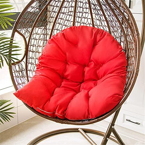EXQULEG Cojín para silla colgante con cremallera, cesta colgante cojín de asiento, cojín columpio, huevo colgante para hamaca, cojín para patio, jardín (rojo)