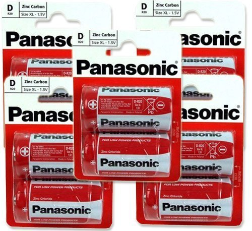 Panasonic R20R-2BP D Size 5 x 2Pack (10 Batteries)