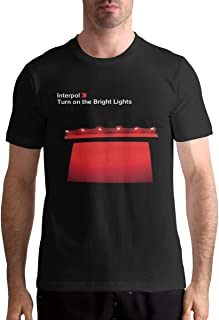 Man's Interpol Turn On The Bright Lights Music Band Short Sleeves T Shirts Gift Black