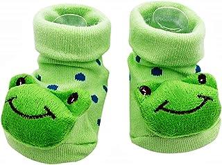Lovelegis, Calcetines antideslizantes para niños - bebés - 0/12 meses - fantasía - rana - lunares verdes - hombre - mujer - unisex - idea de regalo de cumpleaños