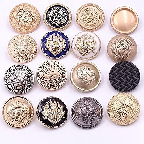 Jas knoppen goud All-match high-end vrouwelijke knoppen jas wollen metalen knoppen Britse heren windjack knoppen (6PS)-16P