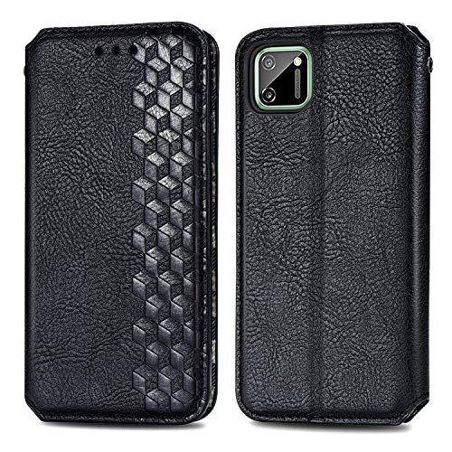 Trugox Cover Portafoglio per Realme C11 in Pelle Custodia a Libro con Supporto Antiurto Case Cover Wallet per Oppo Realme C11 - TRSDA120679 Nero