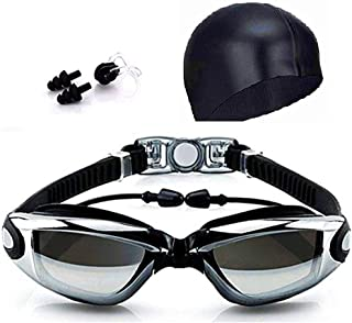 DEVIN0705 4 in 1 Adult Swimming Goggles with Glasses,earplug, Swim Cap and Nose Clip.Water Leakage Prevention,Anti-Fog,Anti-UV.Electroplated Lens.