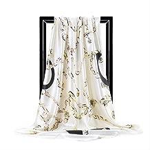 LIUS Bufanda Sciarpe Di Seta Per Stampa Foulard Satin Square Testa Hijab Scarfs For Ladies Luxury Brand Shawls Bandana 90 X 90 CM cioccolato