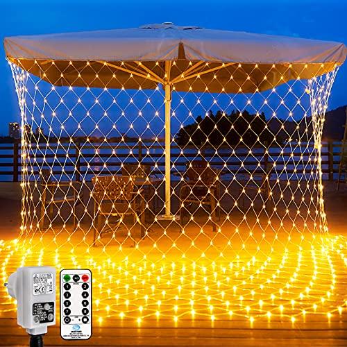LED Lichternetz,3x2m Warmweiß Lichterkette Netz,200 LED Vorhanglichter String mit Fernbedienung Trafo Timer 8 Modi Lichtketten für Weihnachten, Halloween, Party, Geburstag, Hochzeit Geeignet