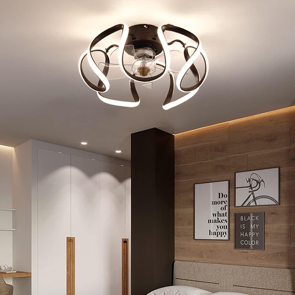 LED Ventilador Techo Con Luz Y Mando 3 Velocidades Dormitorio Regulable Lamparas Ventilador De Techo Con Temporizador Φ50cm Moderno Silencioso Ventilador Techo Con Luz 60W