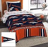 Denver Broncos Twin Comforter & Sheets + Bonus Pennant Flag (4 Piece Bed in A Bag)