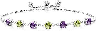 925 Sterling Silver Purple Amethyst and Green Peridot Women's Adjustable Tennis Bracelet, 2.67 Cttw