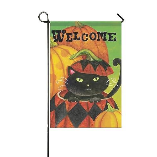 "12.5*18/"" Halloween Garden Flag Yard Flags Home Banner Round Moon Black Cat Witch"