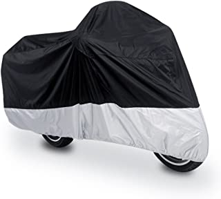 uxcell XL 180T Rain Dust Protector Black Silver Scooter Motorcycle Cover 96
