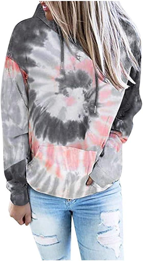 Hemlock Womens Hoodies Teen Girl Tie Dye Hooded Sweatshirt Teen Long Sleeve Blouse Autumn Hooded Pullover Crop Tops