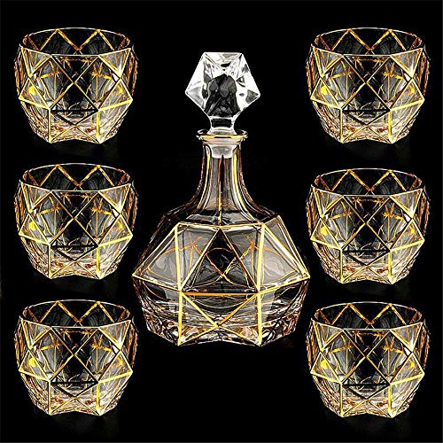 LERDBT Decantador Siete Botella de Vino de Vidrio sin Plomo Conjunto de Bohemia de Oro Forrada de Cristal Vaso de Whisky de Cristal Sistema del Vino Adecuado para familias (Color : A, Size : 750ml)