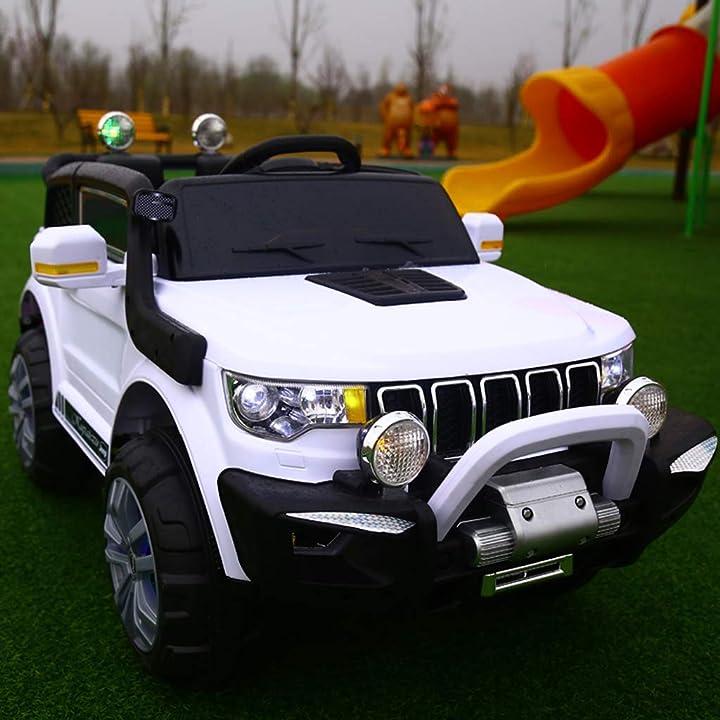 Macchina per bambini elettrica jeep 2 posti 4wd 12v con telecomando usb mp3 (bianco) - fp-tech B07QLJB47Y