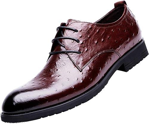 Oudan Chaussures de Mariage Derby pour Hommes Occasionnels Chaussures de Ville Chaussures habillées (Couleuré   Burgundy, Taille   42EU)
