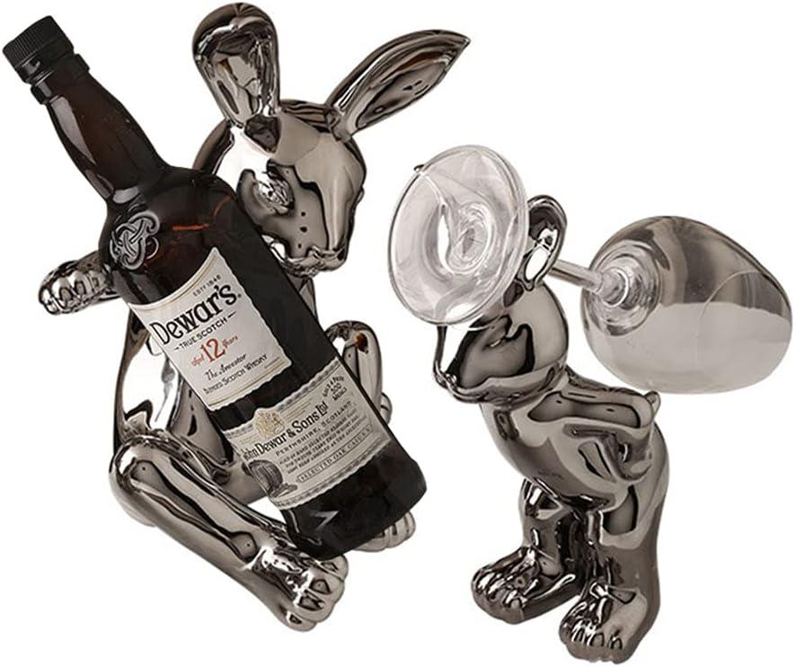 Creativo Kit Botelleros Vino y Soporte de Vidrio Vertical Design Cerámica Figuras Animal Decorativas Vinoteca Mueble Cromo Estante Botellas de Vino para Armario Salon Bar Regalos Hogar, A