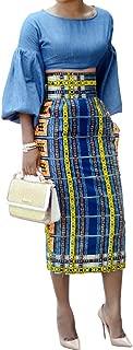 Womens African Print Plaid Midi Skirt Bodycon High Waist Floral Knee Length Pencil Skirts