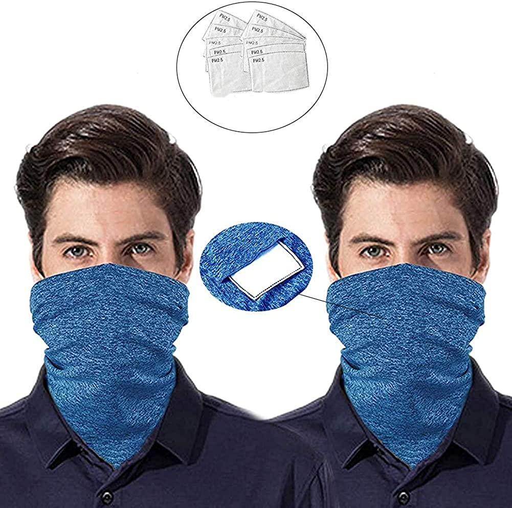 Face Scarf Bandana Men Women Neck Gaiters with Filters for Outdoors Festival Shorts Balaclava Mask (12Pcs)