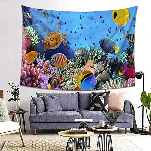 ZGPOJNDKI Tapiz de colonia de coral, mar rojo, para colgar en la pared, decoración del hogar, para estudiantes, dormitorio, sala de estar, dormitorio, 152 cm de alto x 200 cm de ancho