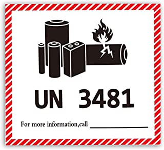 UN3481 Label 4.72 x 4.33 Inch Caution Lithium Battery Stickers for Transport Package Battery Warning 600 Piece Warning Sticker