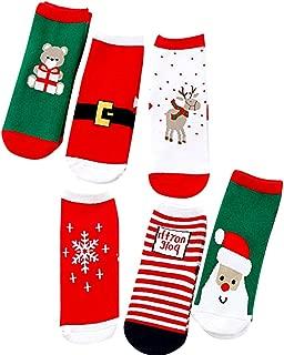 Christmas Socks,6 Pairs Unisex Warm Socks for 1-9 Years Kids