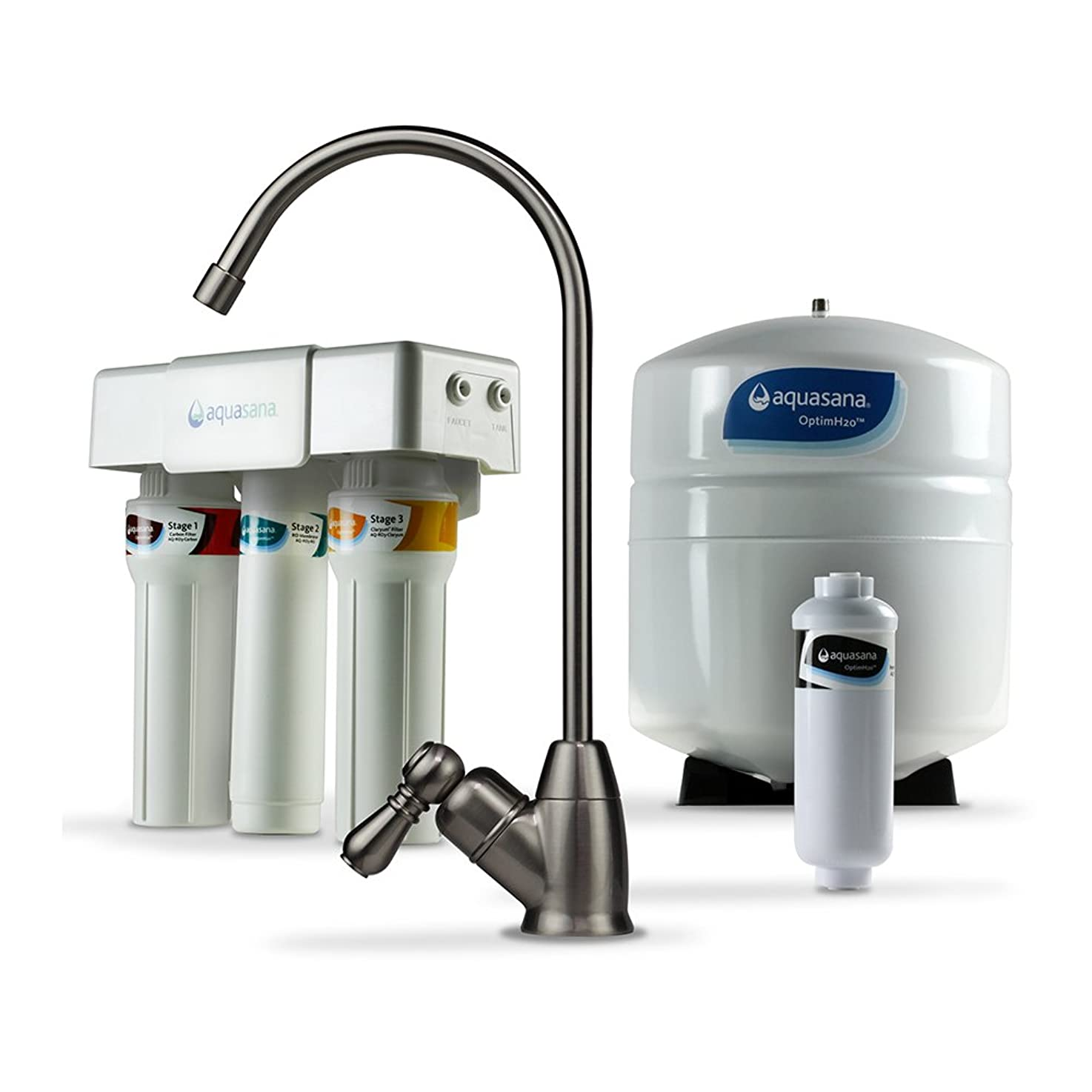 Aquasana OptimH2O Reverse Osmosis Water Filter with Remineralizer and Brushed Nickel Faucet