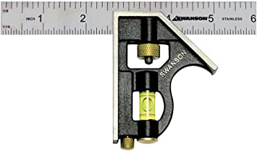 Swanson Tool TC130 6-Inch Combo Square (Cast Zinc Body, Stainless Steel Ruler and Brass Bolt)