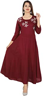 17279f5881 Cottonwalas Women's Rayon Embroidered Ankle Length Anarkali Kurti (Maroon)