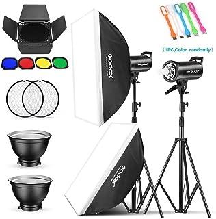 Godox 2 Pack SK400II 800Ws Photo Speedlite Studio Flash Strobe Monolight Bowens Mount Kit for Studio Shooting,Video Location and Portrait Photography with Softbox,Light Stand,Barn Door Kit,Reflector