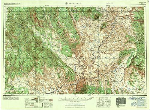 YellowMaps Escalante UT topo map, 1:250000 Scale, 1 X 2 Degree, Historical, 1956, 22.1 x 30 in - Tyvek