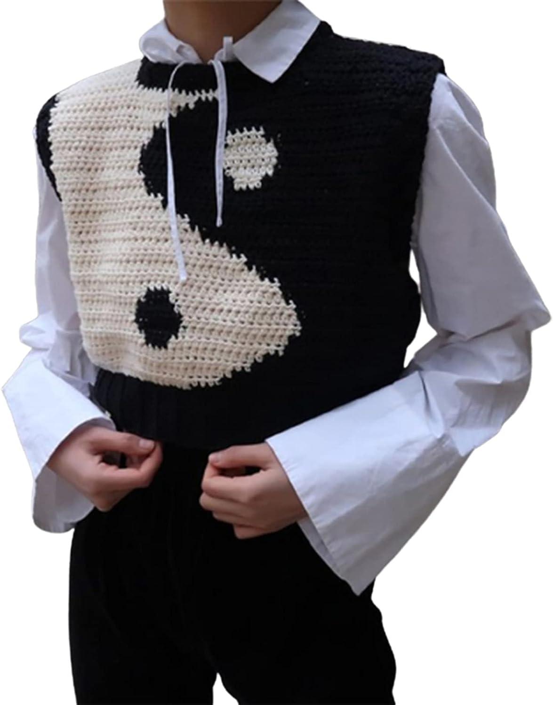 Women Y2k Knit Sweater Vest Argyle Plaid Knitted Sleeveless Tank Top Aesthetic Graphic Knitwear Vest 90s Streetwear
