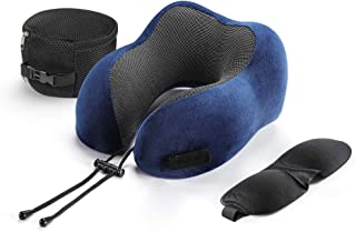 Tchipie Memory Foam Travel Neck Pillow for Airplane, Ergonomic Head Rest Airline Sleeping Pillow for Adults, Compact Neck Support Cushion for Air Plane Long Flight Traveling