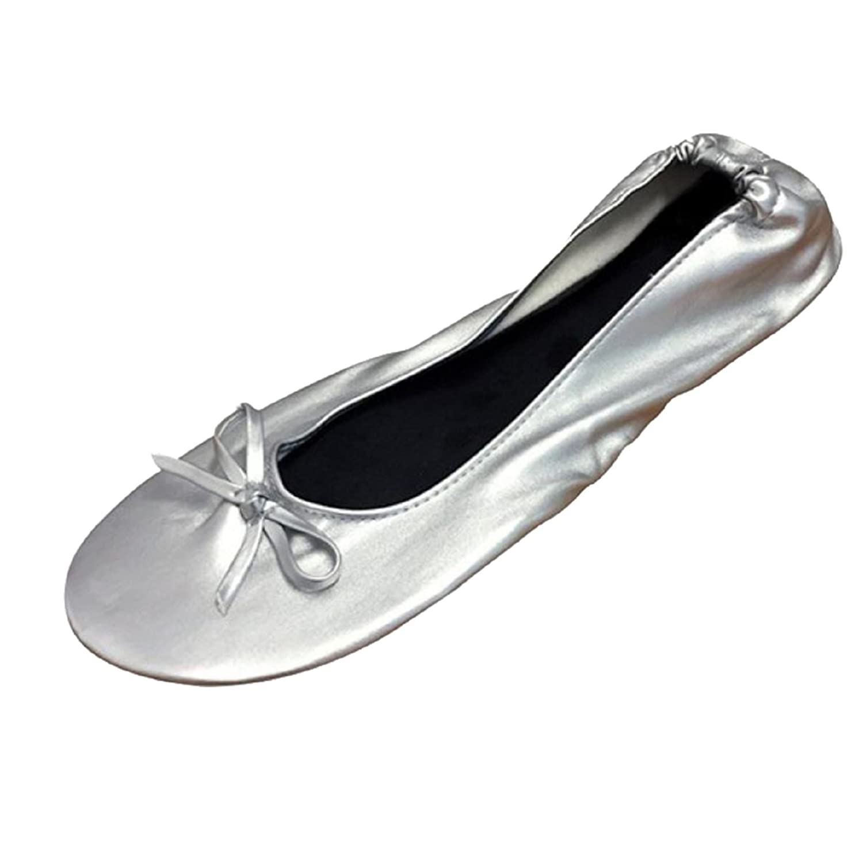 設置子羊ロードされたFoldable Flats with EXPANDABLE TOTE Bag for Carrying High Heels SILVER WOMENS. [並行輸入品]