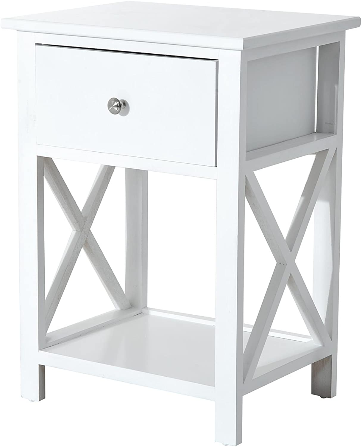 HOMCOM Wooden End Table for Living Room with Storage Drawer and Shelf, Bedroom Nightstand Coffee Table for Living Room Balcony Home and Office, White