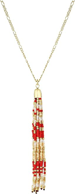 "Beaded Tassel Pendant 29"" Necklace"