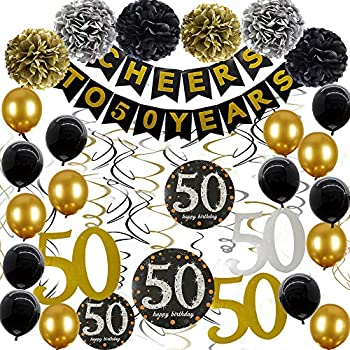 50th Birthday Decorations For Women Men 50th Birthday Decorations For women Cheers to 50 Years Banner 50 Birthday decorations For Him 50 Birthday For Women