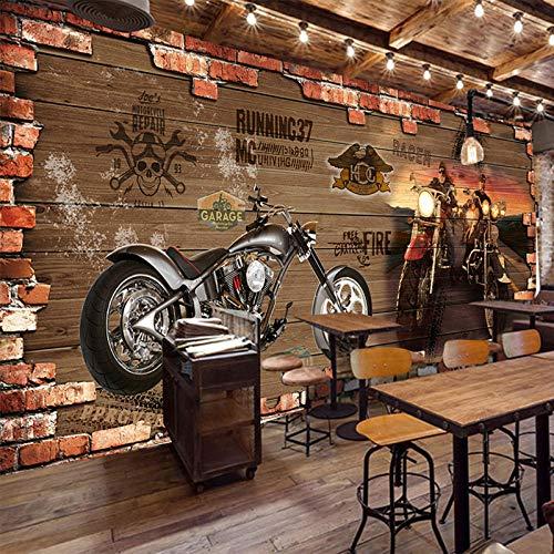 NIdezuiai Behang muurschilderingen, oldtimer motorfiets steen foto aanpassen van 4D-behang wanddecoratie abstracte kunst Hd-print poster voor woonkamer eetkamer inrichting grote zijde wandafbeelding 360cm(W)×230cm(H) (144×90)in zoals getoond