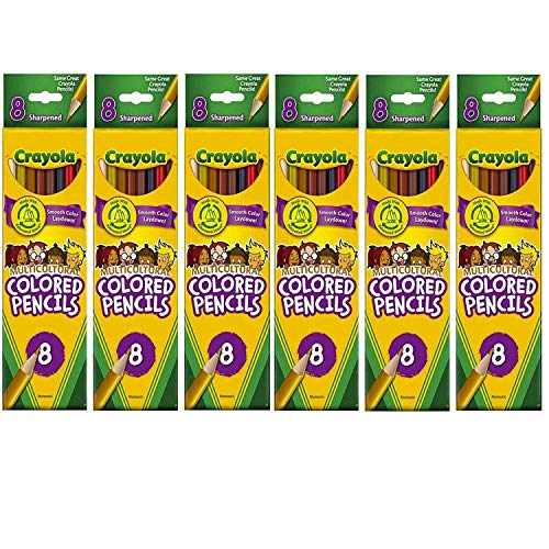 CRAYOLA Multicultural Colored Pencils, 8 Assorted Skin Tone Colors, 6 PACK