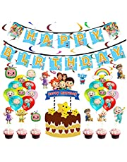 47PCS Cocomelon Birthday Party Supplies,Kids Party Decorations Included Cocomelon Hanging Birthday Banner Swirls Balloons Cupcake Toppers